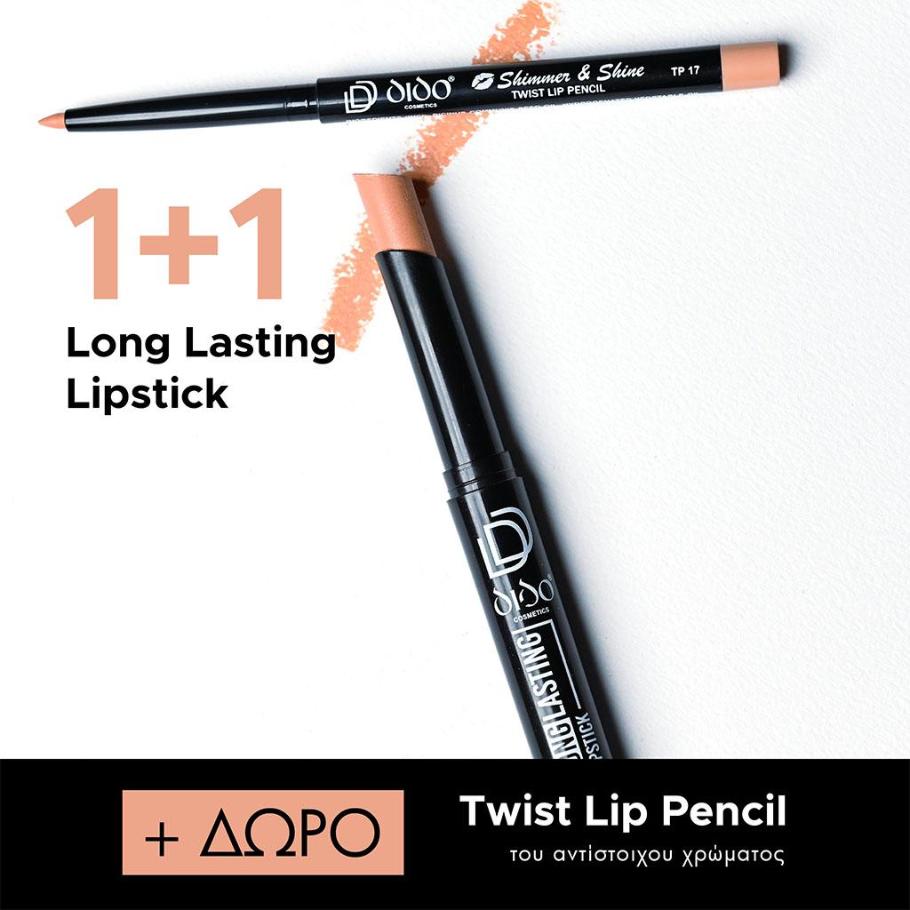 1+1 Long Lasting Lipstick No 2017 + Lip Pencil