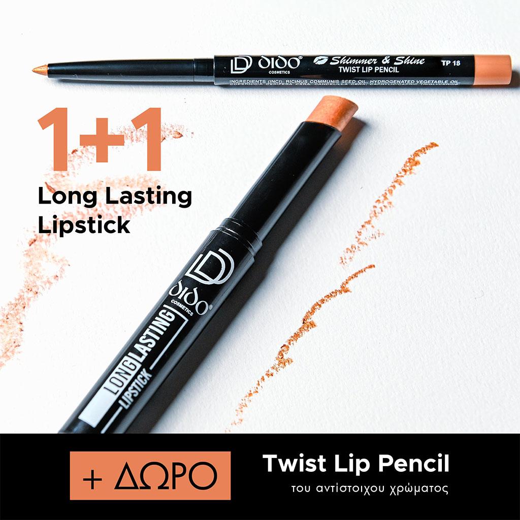 1+1 Long Lasting Lipstick No 2018 + Lip Pencil