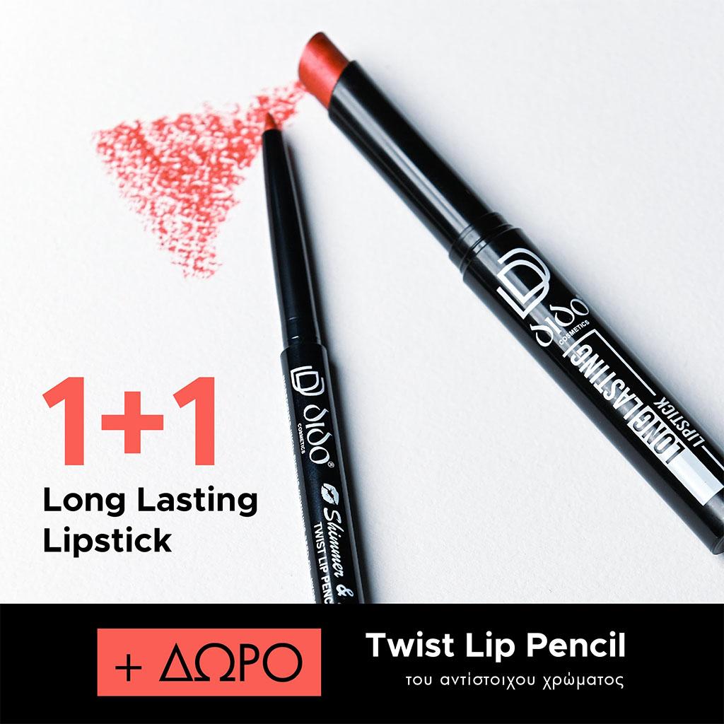 1+1 Long Lasting Lipstick No 2019 + Lip Pencil