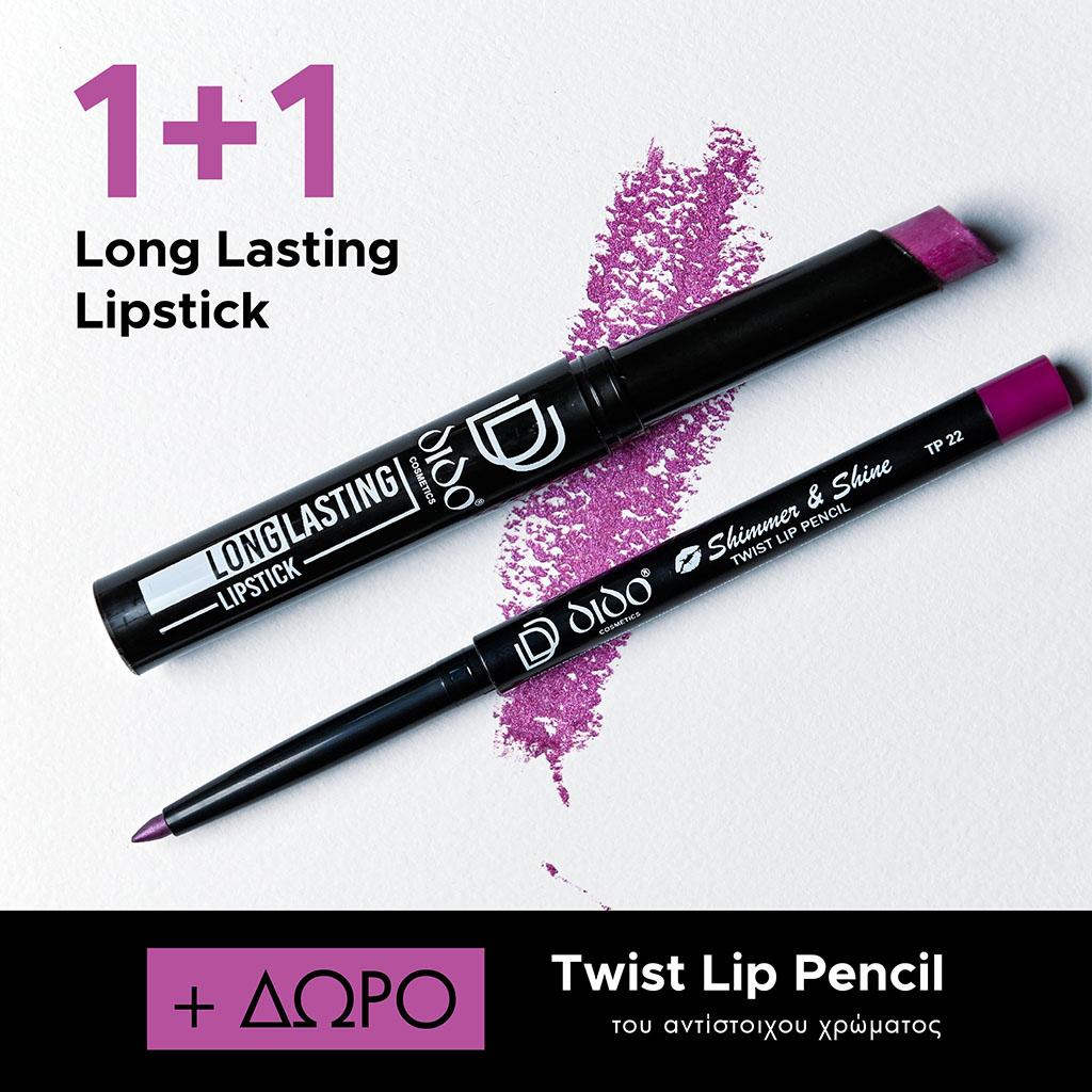 1+1 Long Lasting Lipstick No 2022 + Lip Pencil